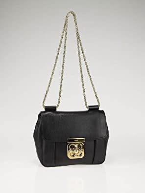 Chloe Black Elsie Small Textured-leather Shoulder Bag New ...