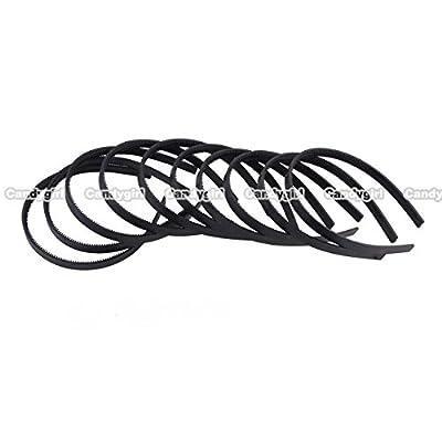 "2/5""(1cm) Width Womens Girls Plain with Teeth Plastic DIY Hair Bands Headbands Headwears (Black) 36pcs Per Pack"