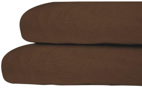 Tribeca Living Luxury Solid Flannel Deep Pocket Sheet Set, Chocolate, King