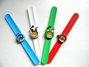Cute 3D Cartoon Angry Birds Watch Kids Boy Girl Children's Rubber Snap-on Slap Cuff Watch Gifts Idea (Blue)