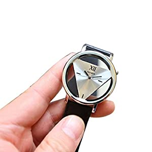 Mens Womens Unique Hollowed-out Triangular Dial Black Fashion Watch