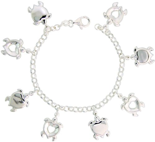 Sterling Silver Heart-shaped Turtle Pendant Bracelet, 7/8