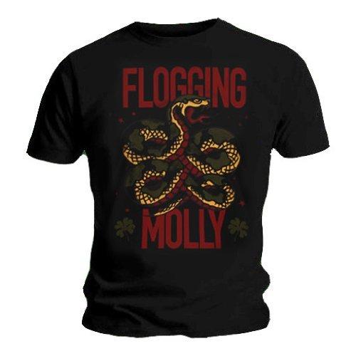 FLOGGING MOLLY-Maglietta ufficiale irlandese, con Logo Vintage a tutte le misure Nero  nero