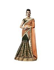 Green And Orange Velvet Designer Party Wear Lehenga Saree