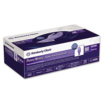 Kimberly-Clark 55082 Gloves, Nitrile Exam, Purple Powder-Free, Medium, 9 1/2 in. 5 mil [Box of 100]