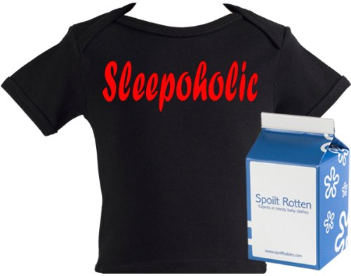Spoilt Rotten - Sleepoholic Baby & Toddler Lap Slogan T-Shirt 100% Organic Sizes 4-5 years WHITE/BLACK in funky Milk Carton