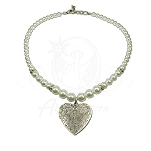 Alpenflustern Pearl Necklace with Amulet Pendant (white) - Traditional Bavarian Oktoberfest Necklace for Dirndl by Alpenflustern
