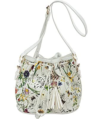 ''Field of Flowers'' Drawstring Cross-body Bucket Bag