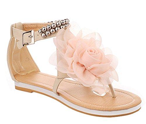 Minetom Donne scarpe casual Infradito Piatte con Fiori Sandali Boemi Dolci d'estate Scarpe ( Beige EU 36 )