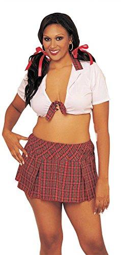Plus Size School Me Crop Top And Plaid Skirt Set (Plaid;Plus Size)
