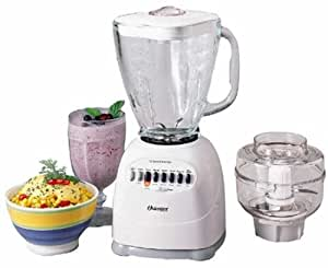 Oster 6646 Osterizer 12-Speed Blender with Glass Jar and Food Processor, White