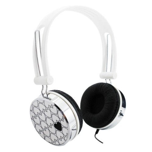 Nuoya001 Love Pattern Overhead Boys Girls Dj Kids Headphones Ipod Iphone Leappad 2 /White