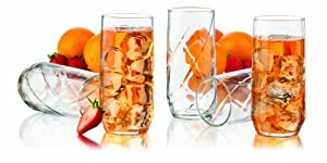 Libbey Diamond Swirl 12-Piece Glassware Set, 16-Ounce, Clear by Libbey