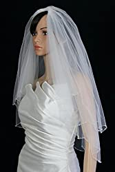 Bridal Veil Ivory 2 Tiers Elbow Length Scallop Edge Trimmed With Clear Beads