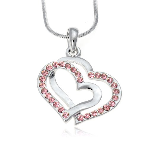 Pink Crystal Double Heart Charm Pendant Necklace: Jewelry