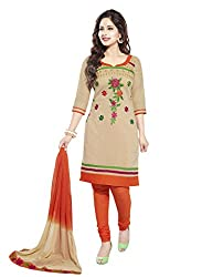 Salwar House Beige & Orange Unstitched Cotton Embroidery Dress Material with Dupatta