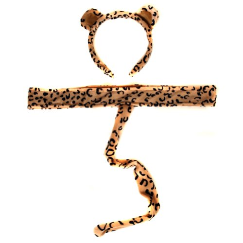 Plush Leopard Headband Ears and Tail - 1