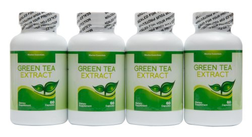 Green Tea Extract - Concentrated Fish Oil - 4 Month Supply Of Green Tea Supplements By Marine Essentials - Decaffeinated Fat Burner Capsules That Can Accelerate Weight Loss - Countless Benefits - 60 Day Money Back Guarantee
