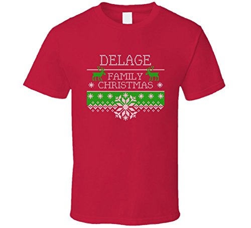 delage-ugly-christmas-sweater-family-name-gift-t-shirt-l-red