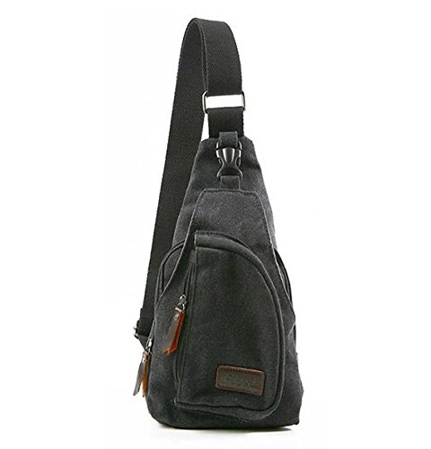 Men'S Canvas Sling Chest Travel Hiking Crossbody Bag Rucksack Backpack Black