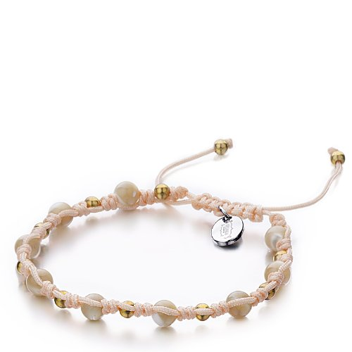 Shimla SH 914 Mother of Pearl TS Bracelet Gold Plated Brass Beads and Stainless Steel Tag