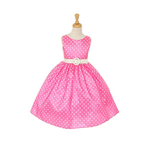 Cinderella Couture Little Girls Pink White Polka Dot Belted Occasion Dress 2-6
