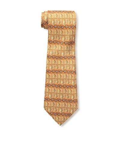Hermès Men's Pre-Owned Patterned Silk Tie, Orange/Multi