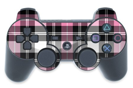 Playstation 3 Controller Skin Pink Plaid