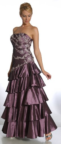 Strapless Elegant Bridesmaid Formal Prom Gown Dress