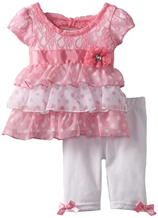 Little Lass Baby-Girls Infant 2 Piece Capri Set with Bow Detail, Pink, 6-9 Months