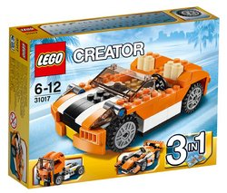 """LEGO Creator - Sunset Speeder - 31017 (Lego Creator 5702015120876) """"The sleek Sunset Speeder sports car is perfect for cruising the streets. Featuring an orange body wi..."""