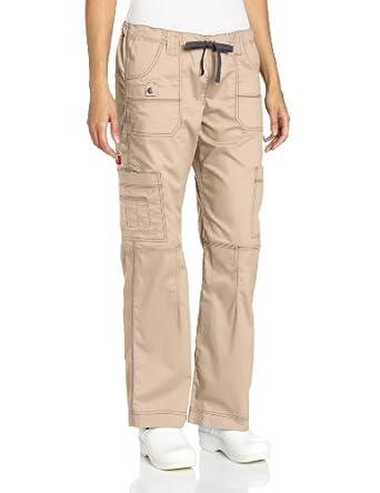 Dickies Medical Scrubs 857455 Women's Jr Fit GenFlex Youtility Cargo Pant Khaki XX-Small Petite
