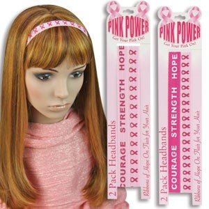"Set of 4 ""Pink Power"" Breast Cancer Pink Ribbon Headbands / Party / Favor / Fundraiser / Charity"