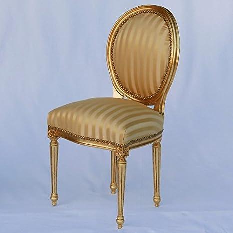 Sedia imbottita Goldi in legno massiccio in oro con motivo a strisce