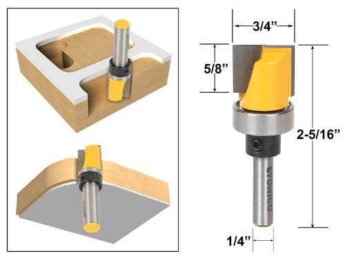 Yonico 14172q Template Trim Router Bit with Bottom Cleaning 1/4-Inch Shank