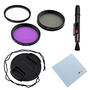 GTMax 3 Piece 46mm (UV-CPL-FLD) Filter Kit with Case + Lens Cap with Strap + Lens Pen + Cleaning Cloth for Panasonic Lumix DMC-FZ18 DMC-FZ18K and Other Digital Camera Lens with 46mm Filter