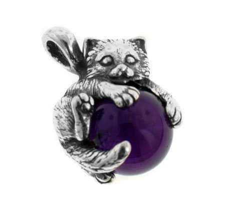 Sterling Silver Cat or Kitten on Dark Purple Amethyst Sphere Slide Pendant