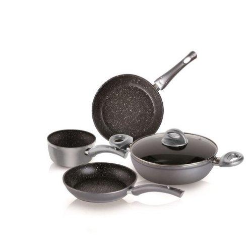 Bialetti Energy Stone Confezione Batteria di Pentole da Cucina, Alluminio Pressofuso, Grigio Nero, 5 Pezzi