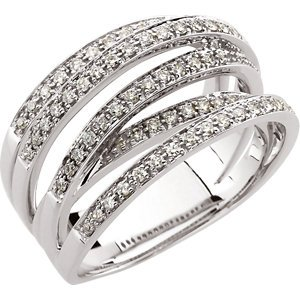 14K White Gold 1/2 ct tw Overlapping Openwork Diamond Band Size: 11