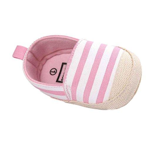 Fulltime® Chaussures bébé Stripe Canvas Semelles souples Toddler anti-dérapant Sneaker