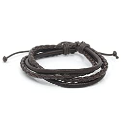 Aaishwarya Leather Brown MultiWrap Mens Bracelet/Wristband