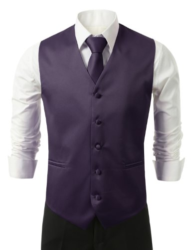 IDARBI for MEN 3 Pieces Set Solid Formal Tuxedo Vest Set / PURPLE-LARGE (Purple Broom Set compare prices)