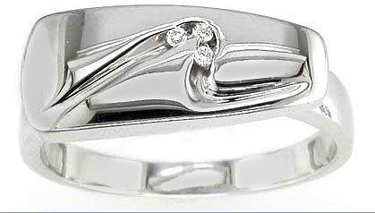 Contemporary Quality Anti-Tarnish 925 Sterling Silver Ladies Fancy Diamond Ring Brilliant Cut 0.03 Carat G-VS