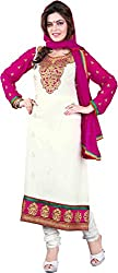 Cool women's Georgette Embroderied Unstitched Dress Material -1021_White_Freesize