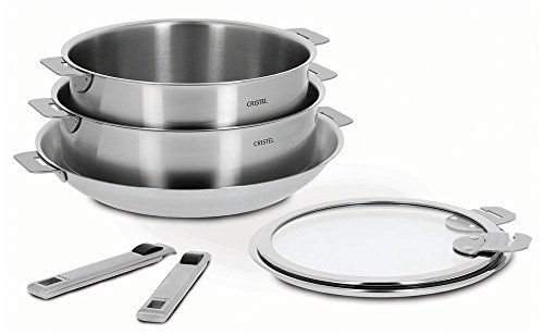 Cristel Strate 18/10 Stainless Steel 7 Piece Cookware Set with Removable Handles (Cristel Cookware compare prices)
