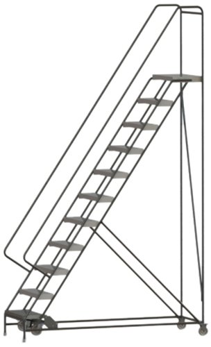Tri-Arc WLAR111244 11-Step All-Welded Aluminum Rolling Industrial & Warehouse Ladder with Handrail, Ribbed Tread