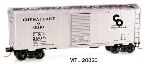 Micro Trains N 20820, 40' Standard Box Car, Single Door, Chesapeake & Ohio C&O #2908 (N Scale)