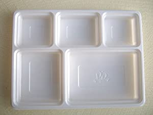 50 Deluxe Heavy Duty 5 Compartment Plastic Dinner Plates