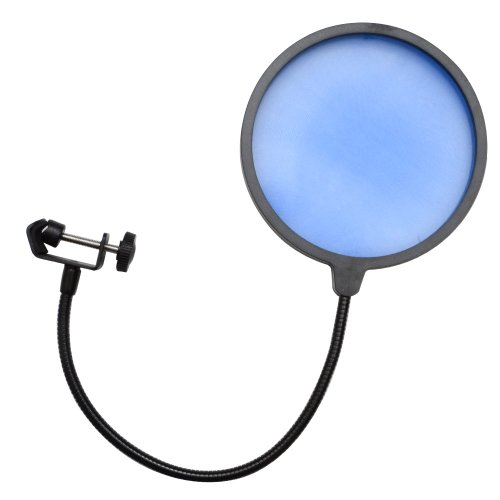 Seismic Audio - Sa-Micscreenblue - Flexible Microphone Wind Screen Studio Mic Pop Filter Blue