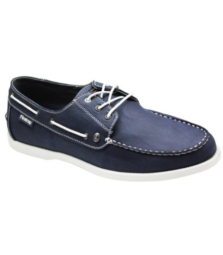MENS FIRETRAP BISMARK LEATHER LACE UP BOAT SHOES SIZES 12uk Navy